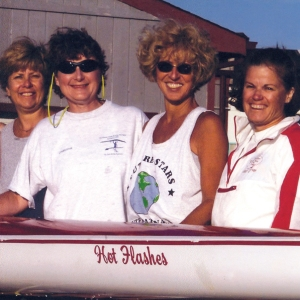 Judy Gallagher, second from left, with members of the Hot Flashes rowing team.