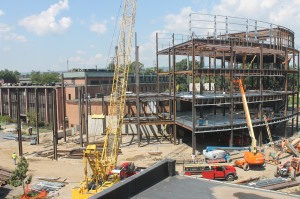 Aug. 23: Steel beams form the shape of the building.