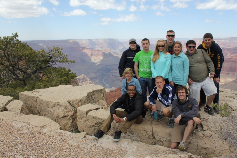 Wilkes undergraduates, above, took a trip to the Grand Canyon as part of their Semester in Mesa. Pictured, front row from left, Assistant to the Dean for Strategic Initiatives Kristine Pruett, J. Brandon Carey, Ryan Joyce, Dan Lykens. Second row, from left, Doug Cowley, T.J. Zelinka, Alexis Gildea, Joseph Zack, Sara Hagenbach, Andrew Polzella and Alex Planer.