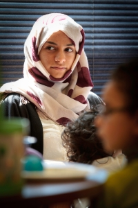 Maryam Al-Marnoon listens intently to instruction in English. PHOTO BY KNOT JUST ANY DAY