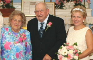 Patricia A. Patrician '82, right, is seen at her wedding with her parents Frank and Anna Markiewicz, in whose honor she has established a scholarship for nursing students at Wilkes.