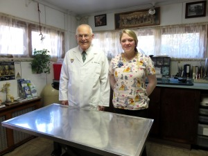 Dr. Mark Stair '70 and junior biology major Brianna Smith have shared experience working together at the Trucksville Dog and Cat Hospital in Dallas, Pa.