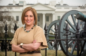 Randa Fahmy pauses in front of the White House - a familiar part of the landscape in her career in government and as a consultant in Washington, D.C. PHOTOS BY STEVE BARRETT
